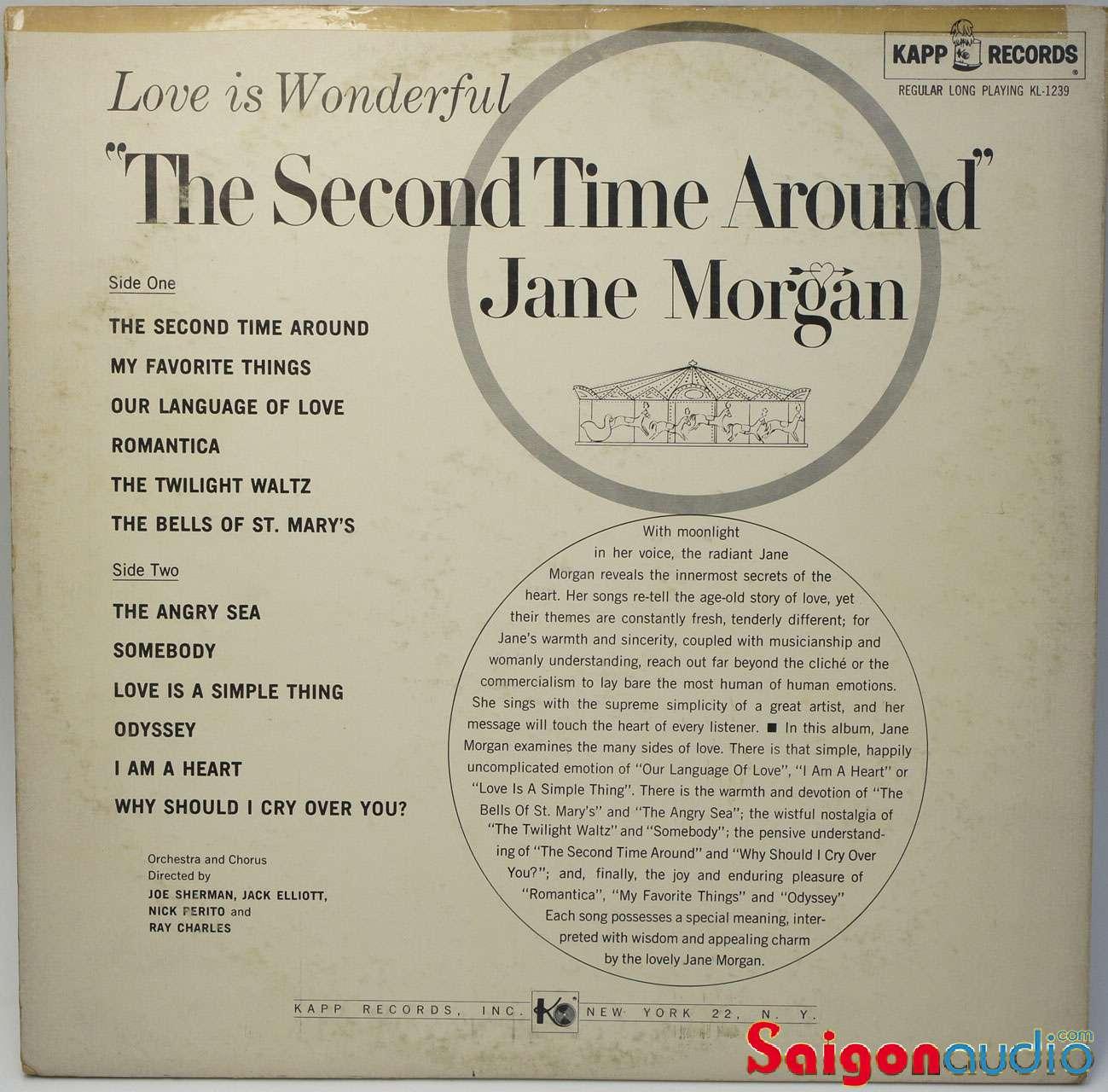 Đĩa than LP Jane Morgan - The Second Time Around (1961)