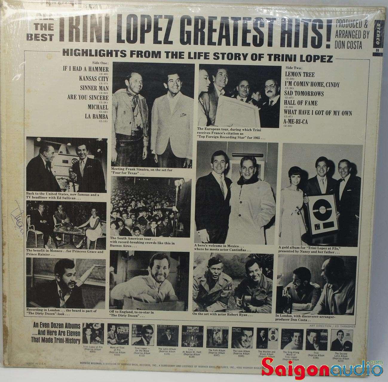 Đĩa than LP Trini Lopez - Greatest Hits