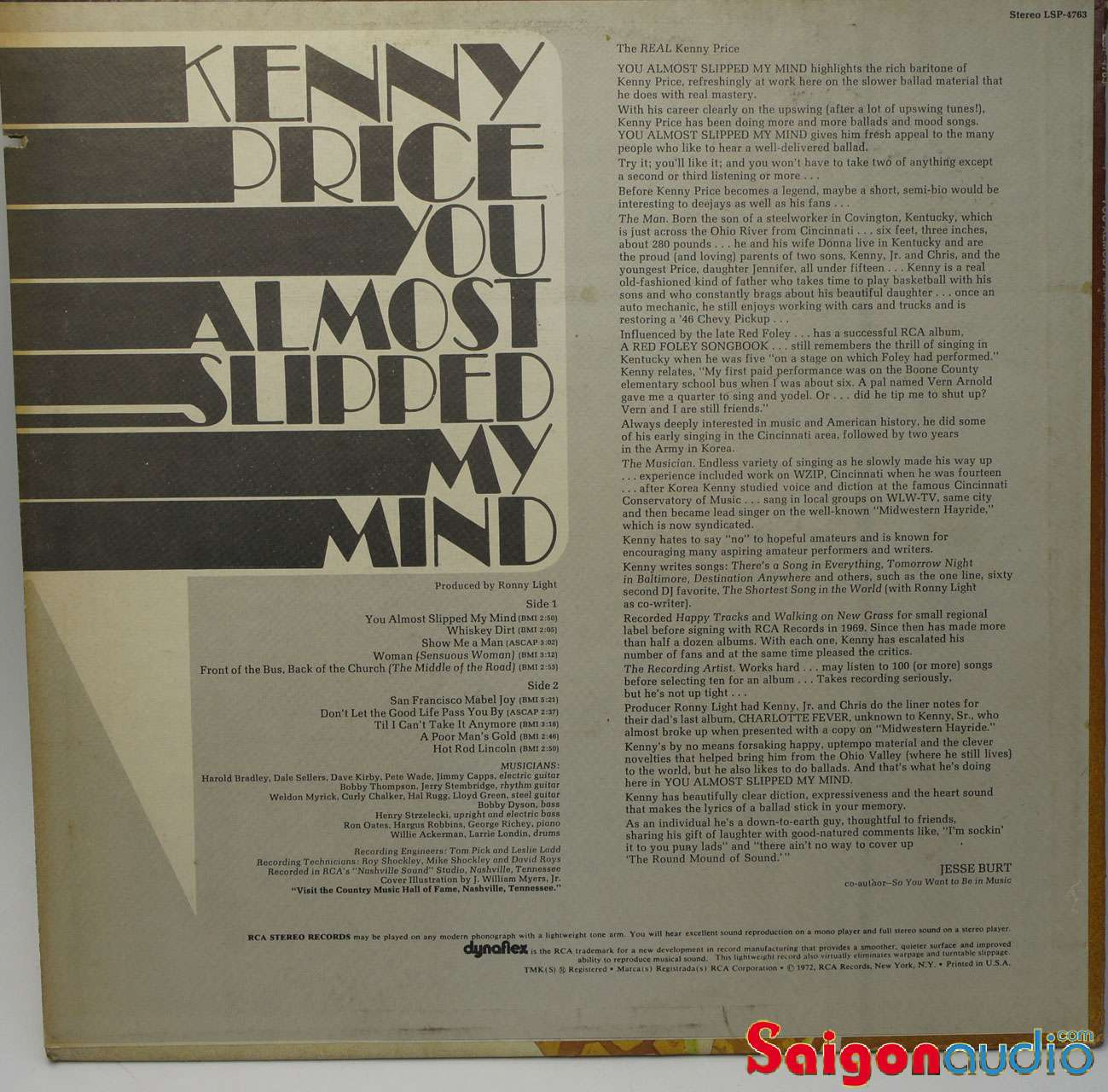 Đĩa than LP Kenny Price - You Almost Slipped My Mind (1972)