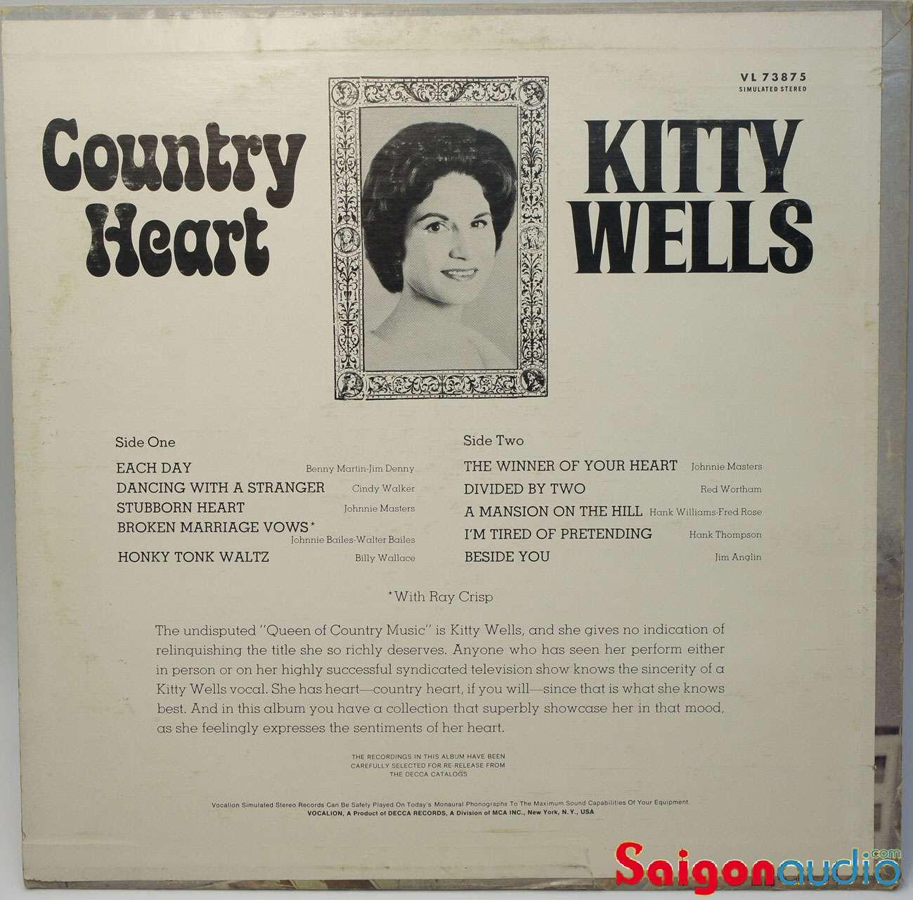 Đĩa than LP Kitty Wells - Country Heart (1969)