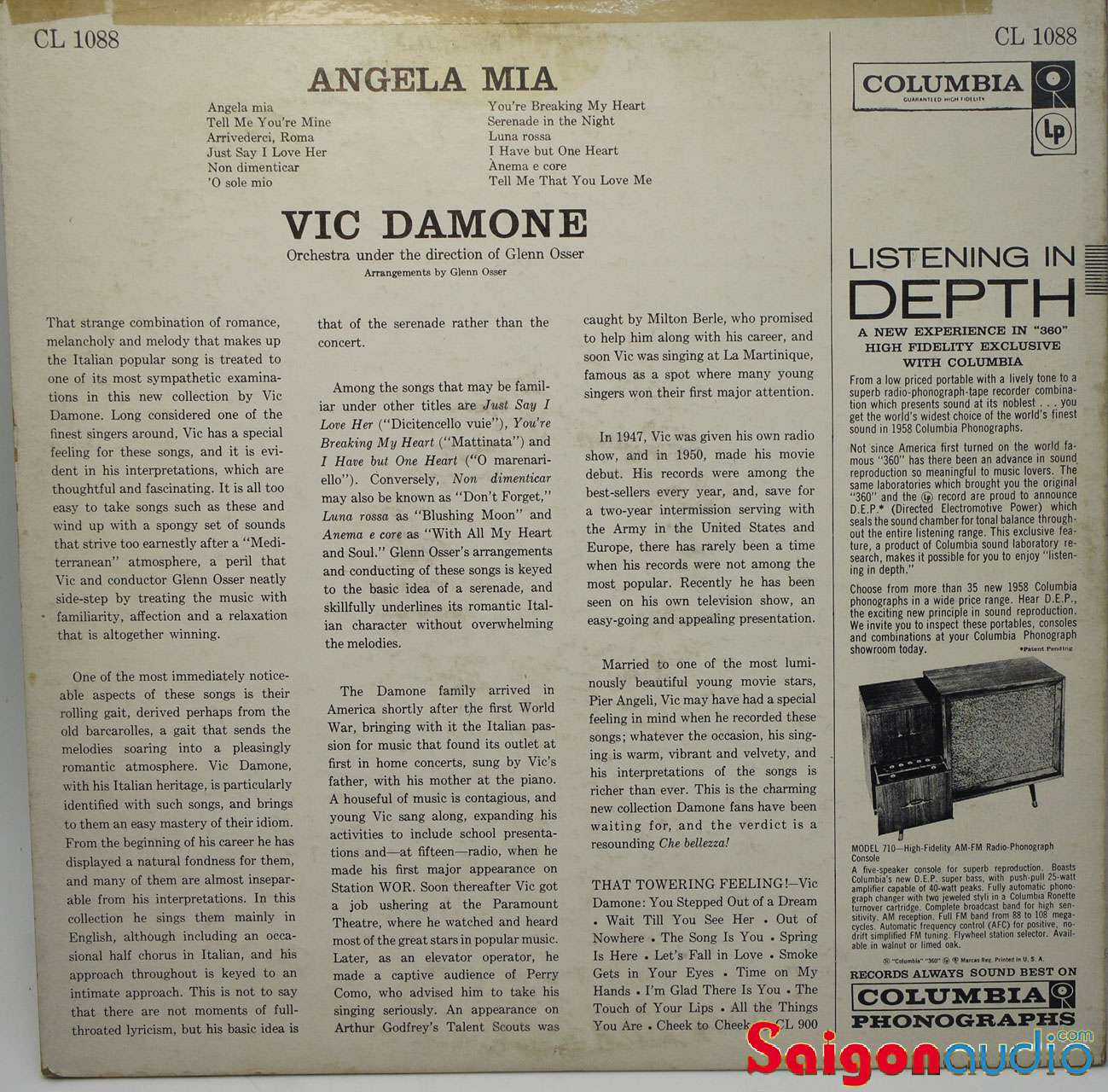 Đĩa than LP Vic Damone - Angela Mia (1958)