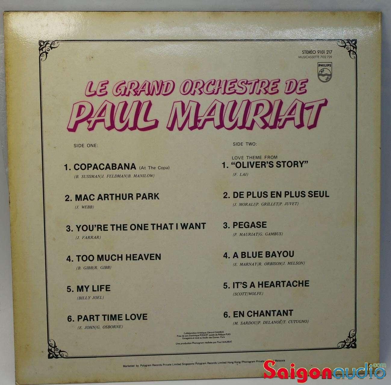 Đĩa than LP Le Grand Orchestre De Paul Mauriat – Too Much Heaven
