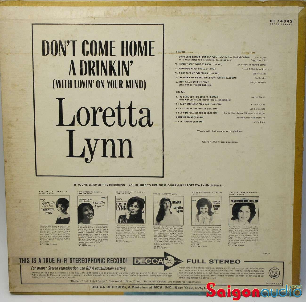 Đĩa than LP Loretta Lynn - Dont Come Home A Drinking