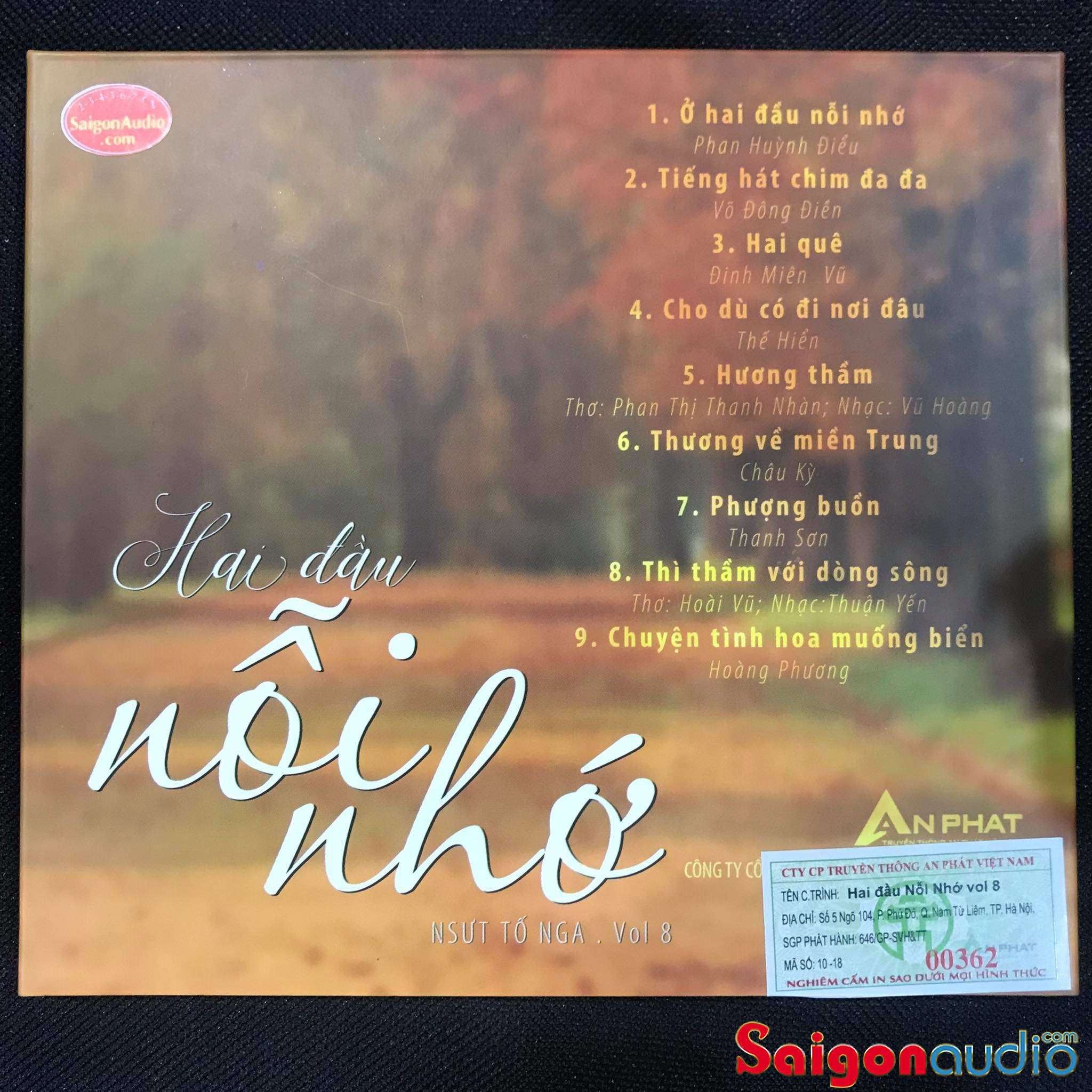 Đĩa CD nhạc gốc Tố Nga - Hai Đầu Nỗi Nhớ (Free ship khi mua 2 đĩa CD cùng hoặc khác loại)
