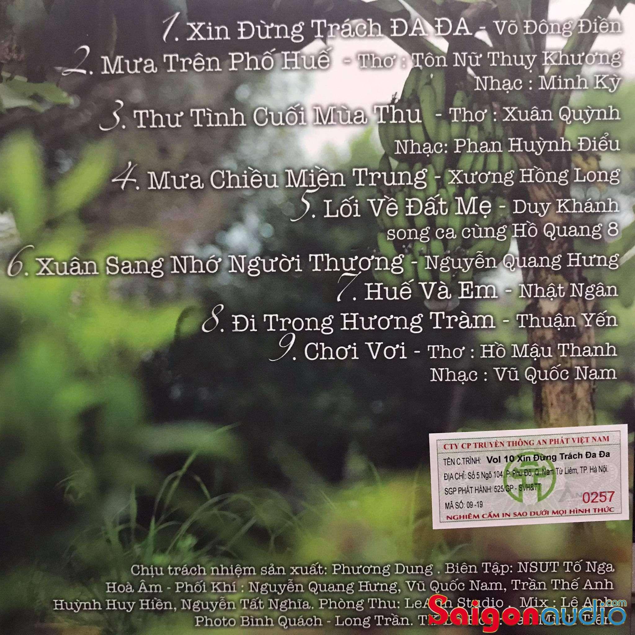 Đĩa CD nhạc gốc Tố Nga - Đừng Trách Đa Đa (Free ship khi mua 2 đĩa CD cùng hoặc khác loại)
